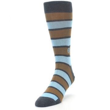 Image of Blue Tan Stripe Gives Water Men's Dress Socks (side-2-front-07)