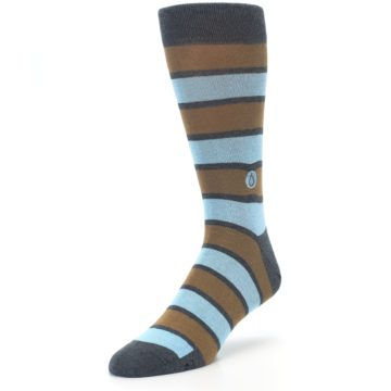 Image of Blue Tan Stripe Gives Water Men's Dress Socks (side-2-front-08)