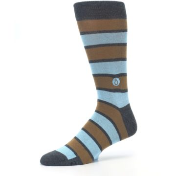 Image of Blue Tan Stripe Gives Water Men's Dress Socks (side-2-10)