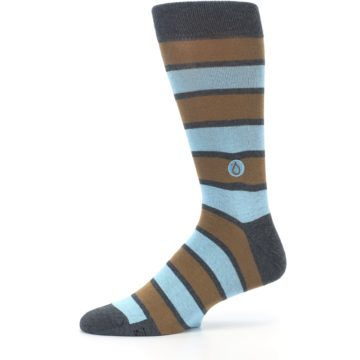 Image of Blue Tan Stripe Gives Water Men's Dress Socks (side-2-11)