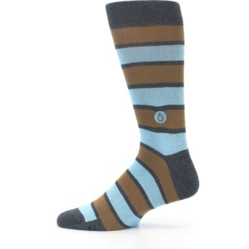 Image of Blue Tan Stripe Gives Water Men's Dress Socks (side-2-12)