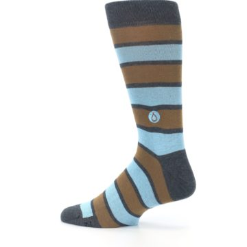 Image of Blue Tan Stripe Gives Water Men's Dress Socks (side-2-13)