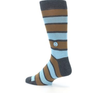 Image of Blue Tan Stripe Gives Water Men's Dress Socks (side-2-back-14)