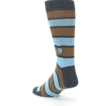 Image of Blue Tan Stripe Gives Water Men's Dress Socks (side-2-back-15)