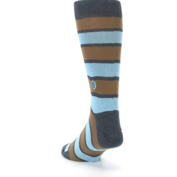 Image of Blue Tan Stripe Gives Water Men's Dress Socks (side-2-back-16)