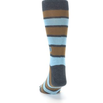 Image of Blue Tan Stripe Gives Water Men's Dress Socks (back-17)