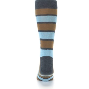 Image of Blue Tan Stripe Gives Water Men's Dress Socks (back-18)
