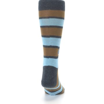 Image of Blue Tan Stripe Gives Water Men's Dress Socks (back-19)