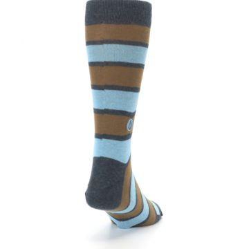Image of Blue Tan Stripe Gives Water Men's Dress Socks (side-1-back-20)