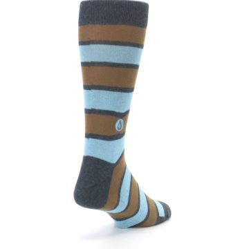 Image of Blue Tan Stripe Gives Water Men's Dress Socks (side-1-back-21)