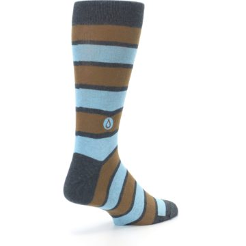 Image of Blue Tan Stripe Gives Water Men's Dress Socks (side-1-back-22)