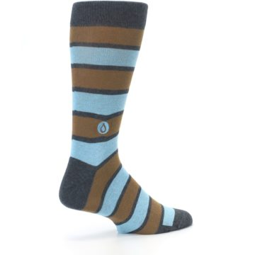 Image of Blue Tan Stripe Gives Water Men's Dress Socks (side-1-23)