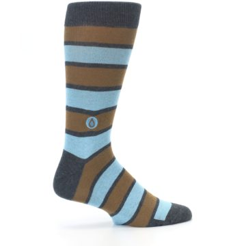 Image of Blue Tan Stripe Gives Water Men's Dress Socks (side-1-24)