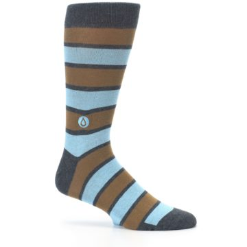 Image of Blue Tan Stripe Gives Water Men's Dress Socks (side-1-25)