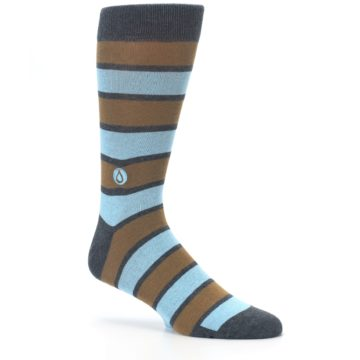 Image of Blue Tan Stripe Gives Water Men's Dress Socks (side-1-26)