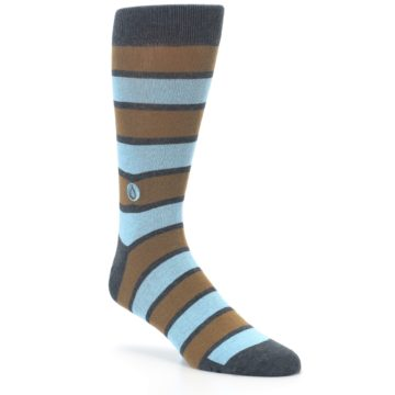 Image of Blue Tan Stripe Gives Water Men's Dress Socks (side-1-27)