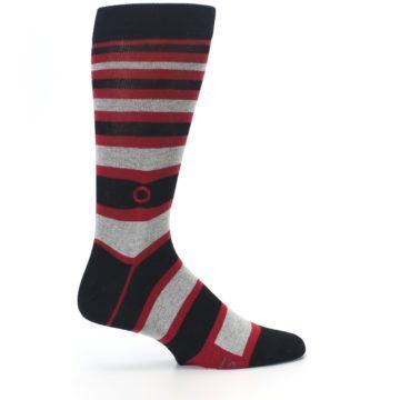 Image of Black Red Stripe Global Citizen Men's Dress Socks (side-1-24)