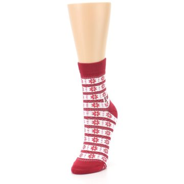 Image of Red Fair Isle Fights HIV Women's Dress Socks (side-2-front-07)