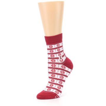 Image of Red Fair Isle Fights HIV Women's Dress Socks (side-2-09)