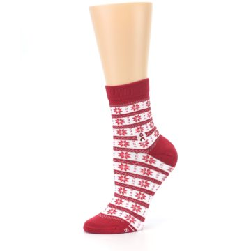 Image of Red Fair Isle Fights HIV Women's Dress Socks (side-2-10)