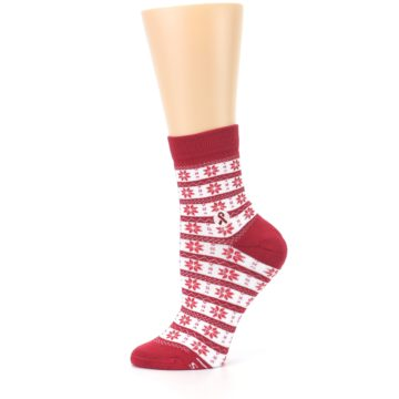 Image of Red Fair Isle Fights HIV Women's Dress Socks (side-2-11)
