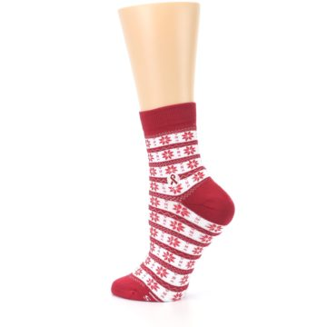 Image of Red Fair Isle Fights HIV Women's Dress Socks (side-2-13)