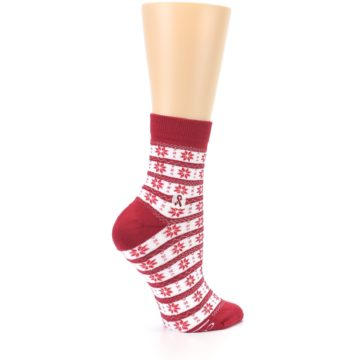 Image of Red Fair Isle Fights HIV Women's Dress Socks (side-1-23)