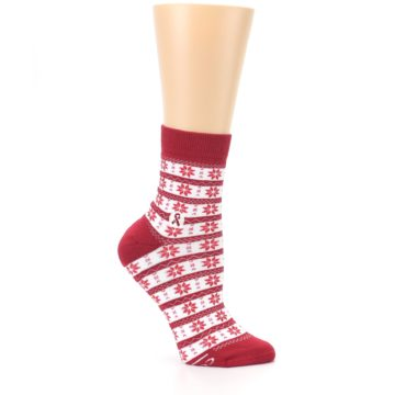 Image of Red Fair Isle Fights HIV Women's Dress Socks (side-1-25)