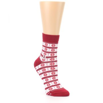 Image of Red Fair Isle Fights HIV Women's Dress Socks (side-1-27)