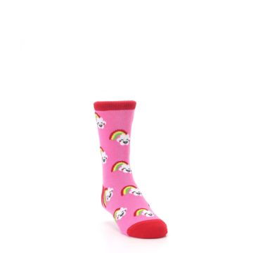 Image of Pink Cloud Rainbow Kid's Dress Socks (side-1-front-02)