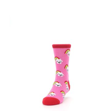 Image of Pink Cloud Rainbow Kid's Dress Socks (side-2-front-06)