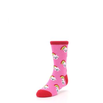 Image of Pink Cloud Rainbow Kid's Dress Socks (side-2-front-07)