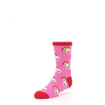 Image of Pink Cloud Rainbow Kid's Dress Socks (side-2-front-08)