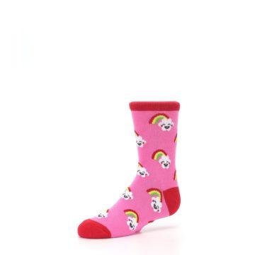 Image of Pink Cloud Rainbow Kid's Dress Socks (side-2-09)