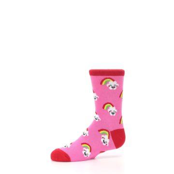 Image of Pink Cloud Rainbow Kid's Dress Socks (side-2-10)