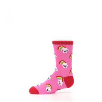 Image of Pink Cloud Rainbow Kid's Dress Socks (side-2-11)