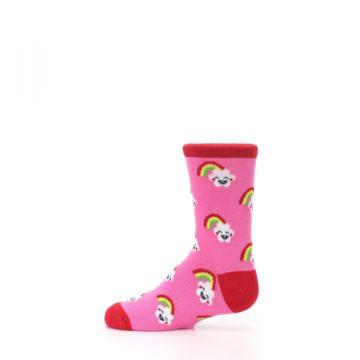 Image of Pink Cloud Rainbow Kid's Dress Socks (side-2-12)