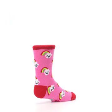 Image of Pink Cloud Rainbow Kid's Dress Socks (side-1-back-22)