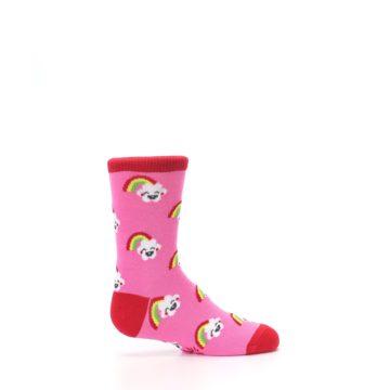 Image of Pink Cloud Rainbow Kid's Dress Socks (side-1-24)