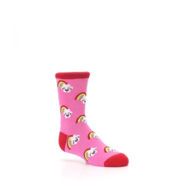 Image of Pink Cloud Rainbow Kid's Dress Socks (side-1-26)