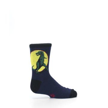 Image of Navy Yellow T-Rex Kid's Dress Socks (side-1-24)