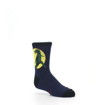 Image of Navy Yellow T-Rex Kid's Dress Socks (side-1-26)