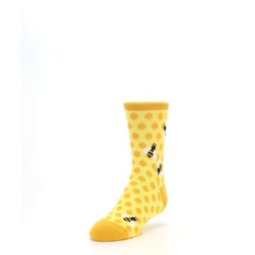 Image of Yellow Honeycomb Bees Kid's Dress Socks (side-2-front-07)