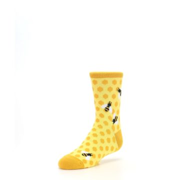Image of Yellow Honeycomb Bees Kid's Dress Socks (side-2-front-08)