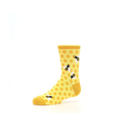 Image of Yellow Honeycomb Bees Kid's Dress Socks (side-2-10)