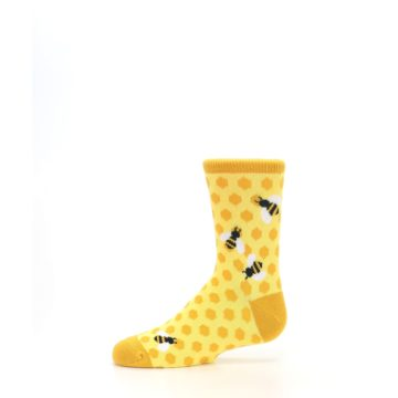 Image of Yellow Honeycomb Bees Kid's Dress Socks (side-2-11)