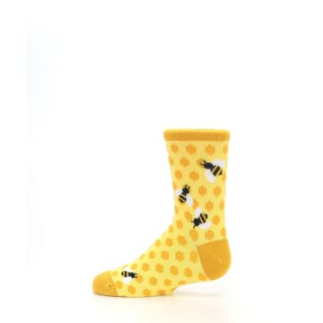 Image of Yellow Honeycomb Bees Kid's Dress Socks (side-2-12)