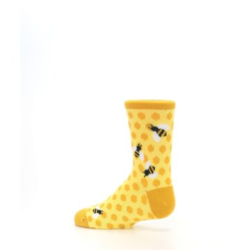 Image of Yellow Honeycomb Bees Kid's Dress Socks (side-2-13)