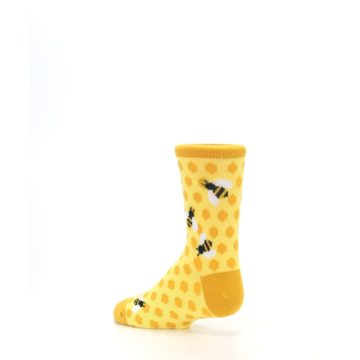 Image of Yellow Honeycomb Bees Kid's Dress Socks (side-2-back-14)