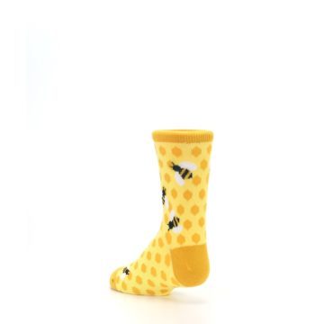Image of Yellow Honeycomb Bees Kid's Dress Socks (side-2-back-15)